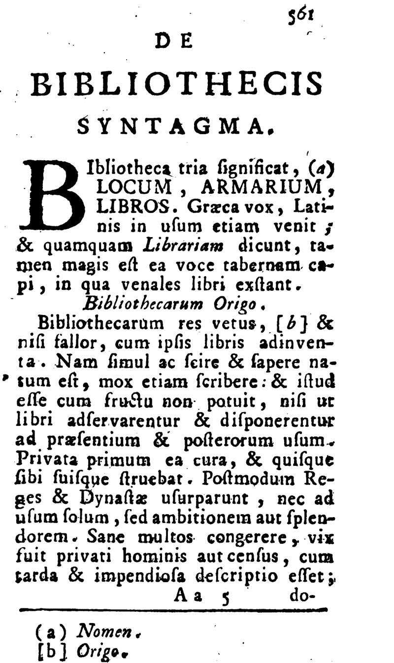 Justus Lipsius\' De Bibliothecis Syntagma - Einleitung