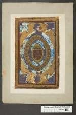 Cod. Guelf. 117 Noviss. 4° — Gouache, Abb. des Vorderdeckels von Cod. Guelf. 39 Aug. 4° (Psalter der Königin Beatrix, Corvine) —