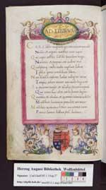T. Alexandri Cortesii de Mattiae Corvini laudibus bellicis carmen (Cod. Guelf. 85.1.1 Aug. 2°, 2v)